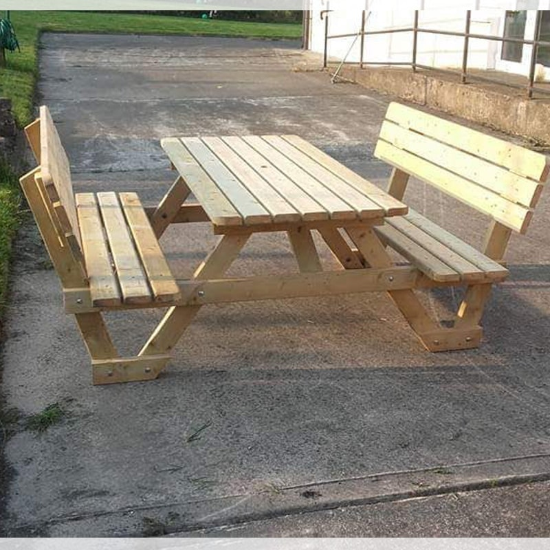 6 Ft Long Picnic Table With Back